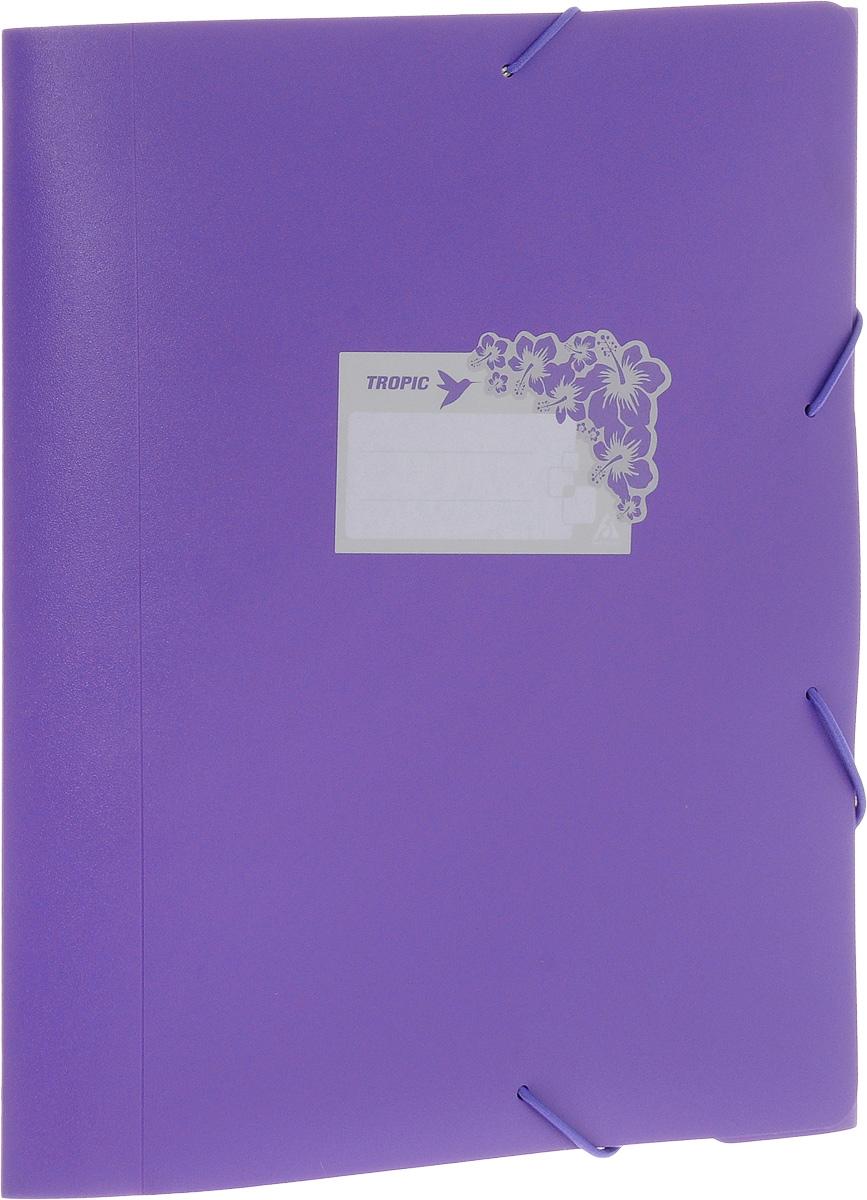 Бюрократ Папка-короб на резинке Tropic формат А4+ цвет фиолетовыйFS-54100Папка-короб на резинке Tropic - это удобный и функциональный офисный инструмент, предназначенный для хранения и транспортировки большого объема рабочих бумаг и документов формата А4+. На лицевой стороне папки имеется место для ФИО владельца, оформленное рисунком с тропическими цветами. Папка изготовлена из жесткого, но гибкого фактурного пластика и закрывается при помощи угловых резинок. Резинки не позволят папке раскрыться в неподходящий момент. Папка надежно сохранит ваши документы и сбережет их от повреждений, пыли и влаги.