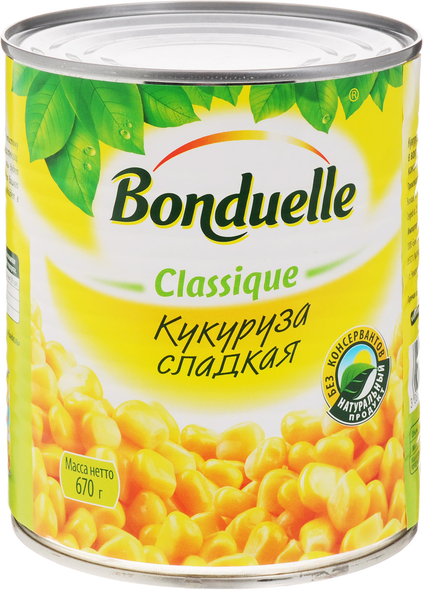 Bonduelle кукуруза сладкая, 670 г0120710Благодаря своему яркому золотистому цвету, сочной и хрустящей консистенции, сладкая кукуруза Bonduelle будет незаменимым ингредиентом для вашего салата, а также отлично подойдет в качестве закуски или гарнира.