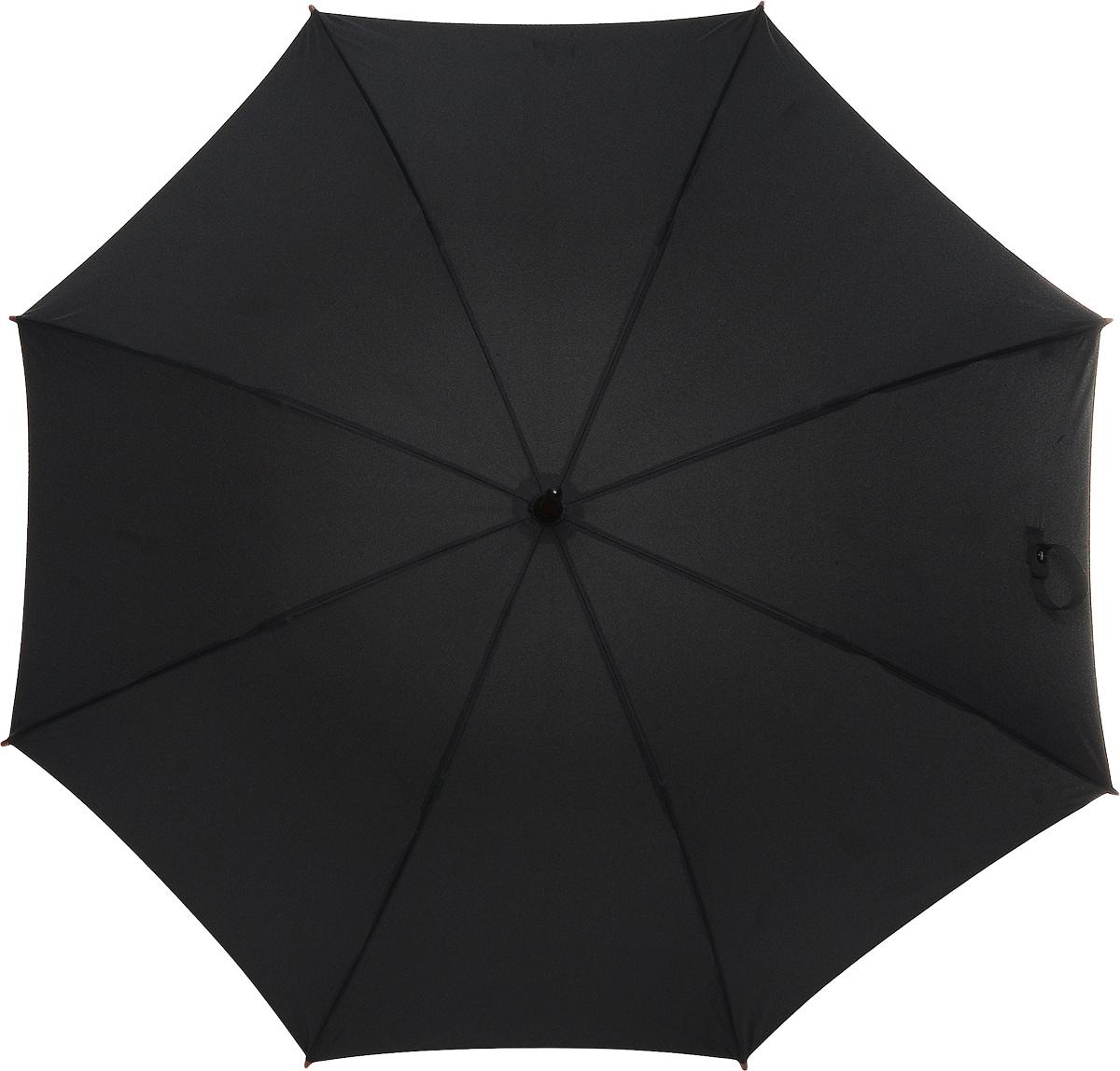 Зонт-трость женский Fulton Kensington, механический, цвет: черный. L776-01CX1516-50-10Модный механический зонт-трость Fulton Kensington даже в ненастную погоду позволит вам оставаться стильной и элегантной. Каркас зонта состоит из 8 спиц и стержня из фибергласса. Купол зонта выполнен из прочного полиэстера. Изделие оснащено удобной рукояткой из дерева.Зонт механического сложения: купол открывается и закрывается вручную до характерного щелчка.Модель закрывается при помощи двух хлястиков на кнопках.Такой зонт не только надежно защитит вас от дождя, но и станет стильным аксессуаром, который идеально подчеркнет ваш неповторимый образ.