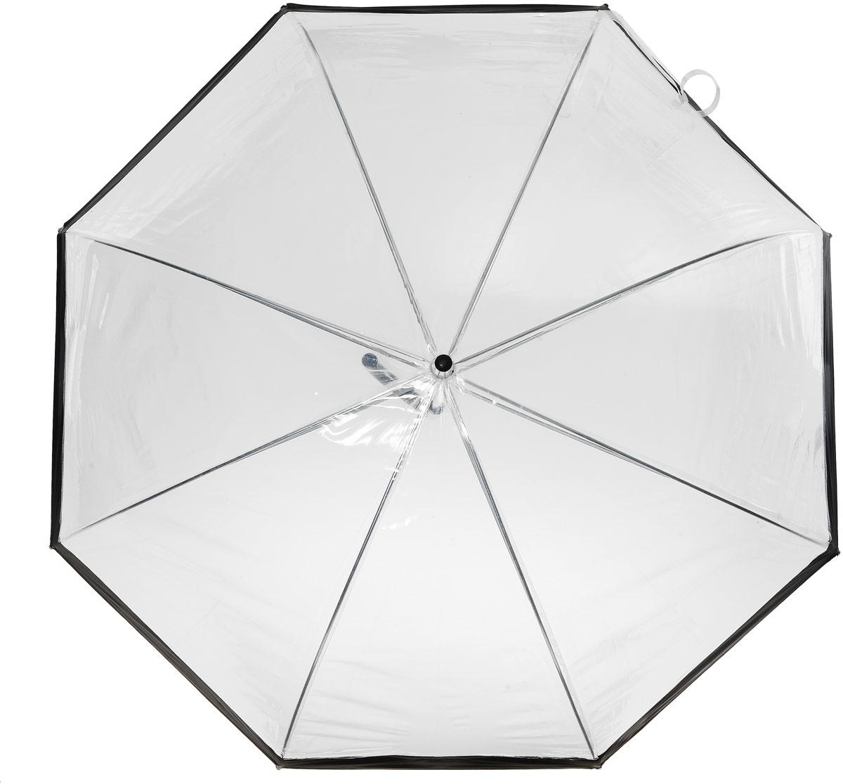 Зонт-трость женский Эврика, механика, цвет: прозрачный, черный. 91668Колье (короткие одноярусные бусы)Оригинальный зонт-трость Эврика выполнен из высококачественного ПВХ, который не пропускает воду. Каркас зонта, выполненный из прочного металла, состоит из восьми спиц. Зонт имеет механический тип сложения: открывается и закрывается вручную до характерного щелчка. Изделие оснащено удобной пластиковой ручкой изогнутой формы.