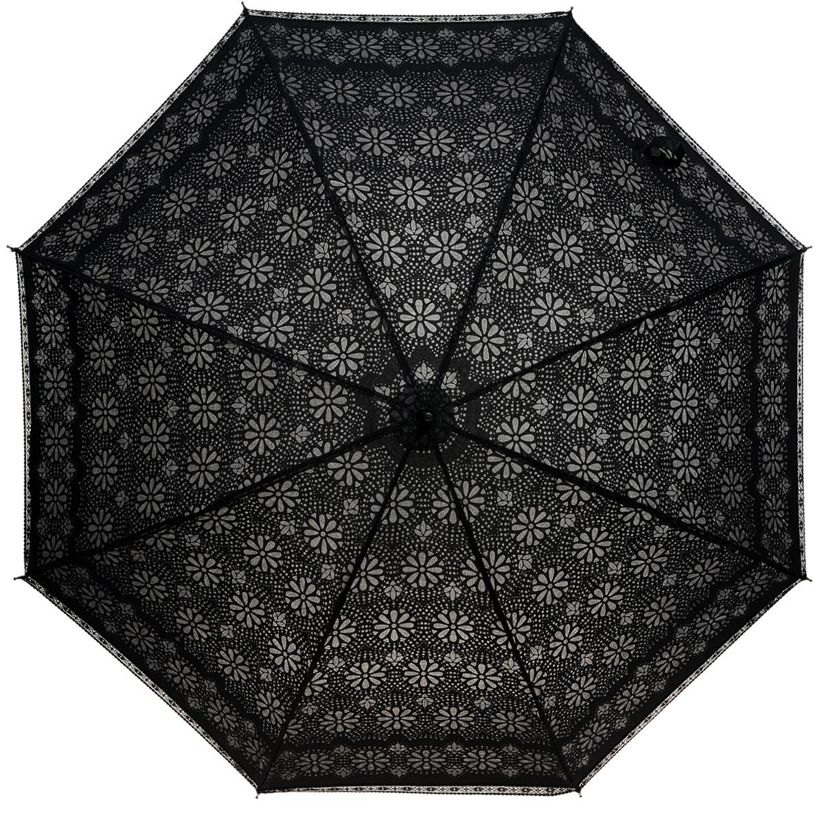 Зонт-трость женский Fulton Eliza, механический, цвет: черный. L600-144745100636-1/18466/4900NТонкий механический зонт-трость в стиле ретро Fulton Eliza даже в ненастную погоду позволит вам оставаться стильной и элегантной. Каркас зонта включает 8 спиц из фибергласса. Стержень изготовлен из стали. Купол зонта выполнен из прочного полиэстера и оформлен принтом в виде полупрозрачных поблескивающих цветов. Край купола украшен изысканной кружевной оборкой. Изделие дополнено удобной пластиковой рукояткой, обтянутой натуральной кожей. На стержне для удобства есть небольшой снимающийся шнурок с кисточками, позволяющий надеть зонт на руку при необходимости.Зонт механического сложения: купол открывается и закрывается вручную до характерного щелчка. Модель застегивается с помощью хлястика на кнопку.Такой зонт не только надежно защитит вас от дождя, но и станет стильным аксессуаром, который идеально подчеркнет ваш неповторимый образ.