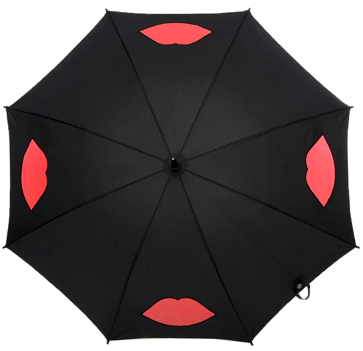 Зонт-трость женский Lulu Guinness Kensington, механический, цвет: черный, темно-красный. L777-287745100032/35449/3537AМодный механический зонт-трость Fulton Lulu Guinness даже в ненастную погоду позволит вам оставаться стильной и элегантной. Каркас зонта состоит из 8 спиц и стержня из фибергласса. Купол зонта выполнен из прочного полиэстера и оформлен вставками в виде губ, которые выполнены из полупрозрачного материала. Изделие оснащено удобной рукояткой из дерева.Зонт механического сложения: купол открывается и закрывается вручную до характерного щелчка.Модель закрывается при помощи хлястика на кнопке.Такой зонт не только надежно защитит вас от дождя, но и станет стильным аксессуаром, который идеально подчеркнет ваш неповторимый образ.