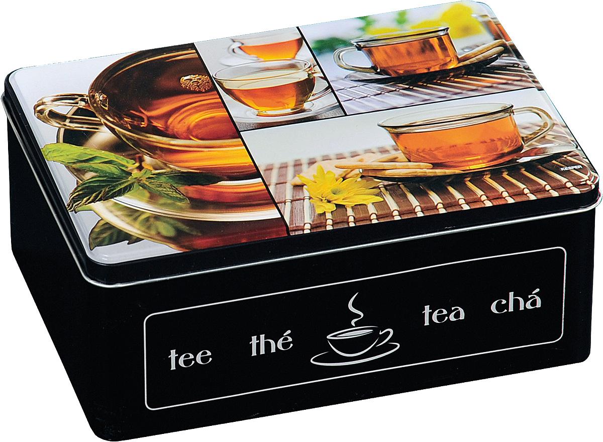 Коробка для чайных пакетиков Kesper, цвет: черный, 20 х 8,5 х 16 см. 3820-6VT-1520(SR)Коробка для хранения Kesper изготовлена из металла, крышка изделия декорирована надписями. Такая коробка подойдет для хранения чайных пакетиков и любых других бытовых мелочей. Она надежно защитит содержимое от пыли, влаги, грязи и насекомых. Удобная коробка для хранения станет прекрасным приобретением для кухни.Размер коробки: 20 х 8,5 х 16 см.