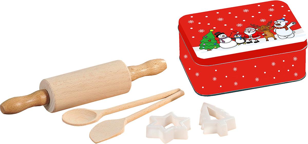 Набор кулинарный Kesper, 6 предметов. 6912-6FS-91909Кулинарный набор Kesper порадует ваших близких своей функциональностью. В набор входят: скалка, ложка, лопатка и две формочки для печенья, выполнены из экологически чистого материала - древесины бука. Металлическая подарочная коробочка для хранения пригодится, чтобы сложить приготовленные изделия.