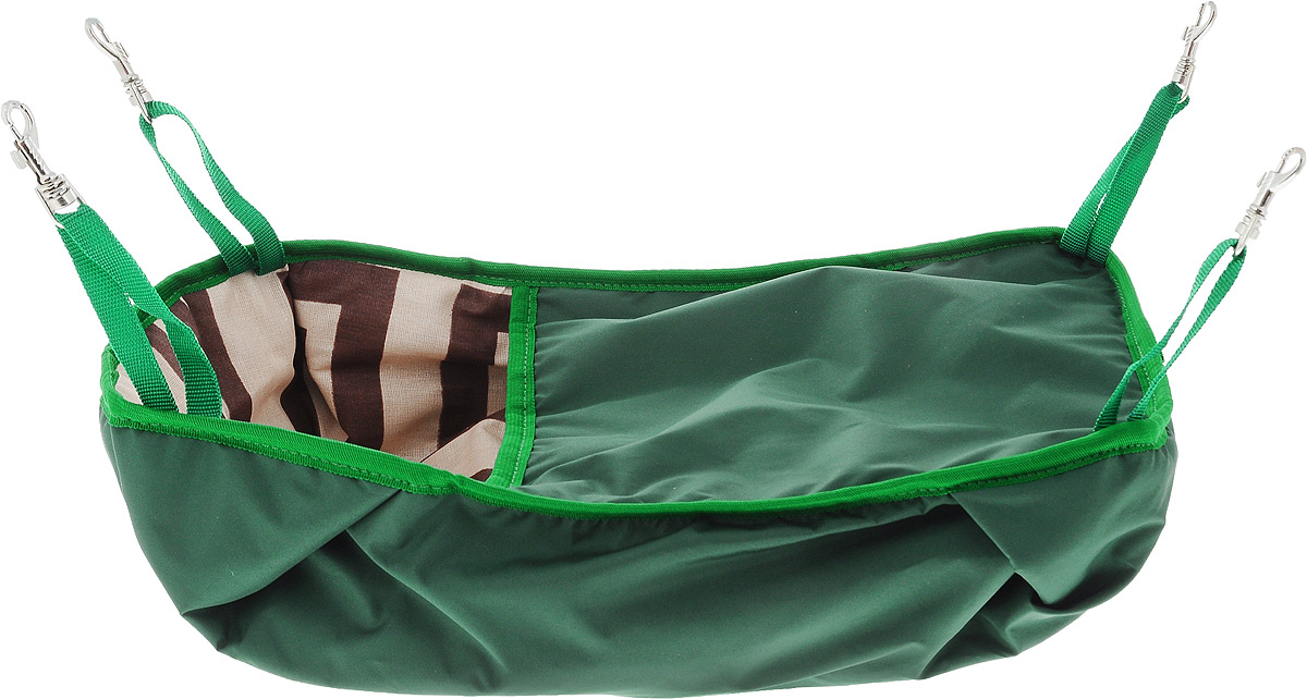 Гамак-кроватка для шиншилл и хорьков ЗооМарк, подвесной, цвет: зеленый. Д-12З0120710Гамак-кроватка ЗооМарк станет лучшим подарком для вашего любимца. Гамак выполнен из водоотталкивающего текстиля с мягким наполнителем и оснащен 4 специальными креплениями на карабинах. Мягкий и теплый гамак-кроватка ЗооМарк надолго привлечет внимание животного, обеспечит интересным времяпровождением, а также даст возможность прятаться внутри от холода и посторонних взглядов.Длина крепления: 13 см.