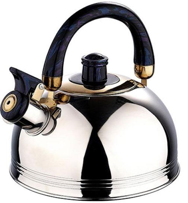 Чайник Wellberg, со свистком, цвет: черный, 2 л54 009312Чайник Wellberg, со свистком, 2 л