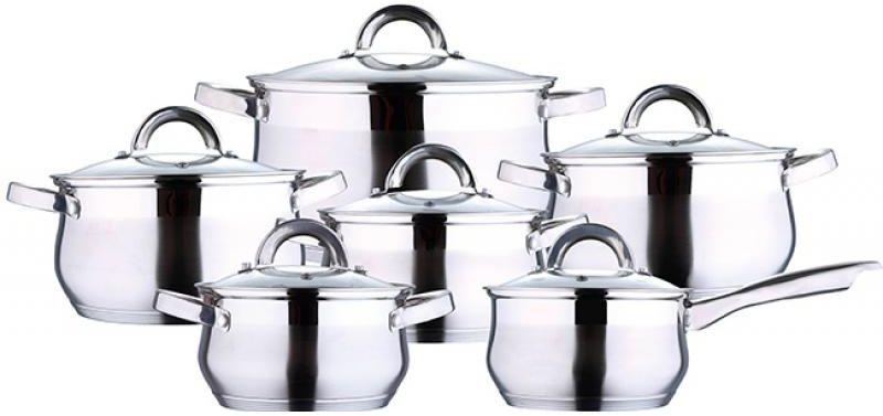Набор посуды Wellberg, 12 предметов54 009303Набор Wellberg состоит из пяти кастрюль разного объема, ковша и крышек для них. Кастрюли и ковш выполнены из высококачественной нержавеющей пищевой стали. Энергосберегающее капсульное алюминиевое дно быстро и равномерно распределяет тепло. Внутренняя поверхность посуды идеально ровная, что значительно облегчает мытье. Кастрюли оснащены эргономичными ручками, что сделает приготовление пищи более безопасным. Крышки, выполненные из термостойкого стекла, имеют пароотводы и удобные ручки. Крышки плотно прилегают к краям кастрюль, предотвращая проливание жидкости и сохраняя аромат блюд. Набор посуды Wellberg подходит для использования на всех типах плит, включая индукционные. Можно использовать в духовом шкафу. Также изделия можно мыть в посудомоечной машине.Объем кастрюль: 1,7 л, 2,4 л 3,4 л (2шт), 5,8 л. Объем ковша: 1,7 л. Внутренний диаметр кастрюль: 16 см, 18 см, 20 см (2шт), 24 см. Внутренний диаметр ковша: 16 см.