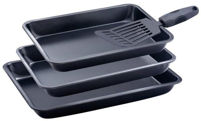 Набор форм для выпечки Wellberg, 3 предмета + лопатка. 1472 WB54 009303Набор Wellberg состоит из трех форм для выпечки, изготовленных из углеродистой стали с антипригарным покрытием. В комплект входит лопатка.Размер форм: 29 x 19,5 x 3,5 см, 31,5 x 21,5 x 4 см, 34,5 x 24,5 x 4 см.