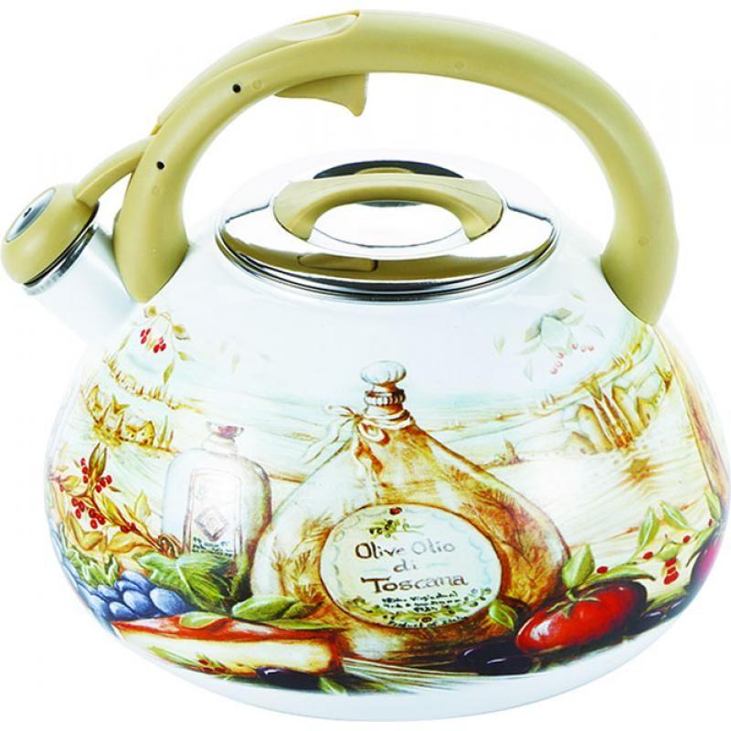 Чайник эмалированный Wellberg, со свистком, 3 лVT-1520(SR)Чайник эмалированный Wellberg, со свистком, 3 л