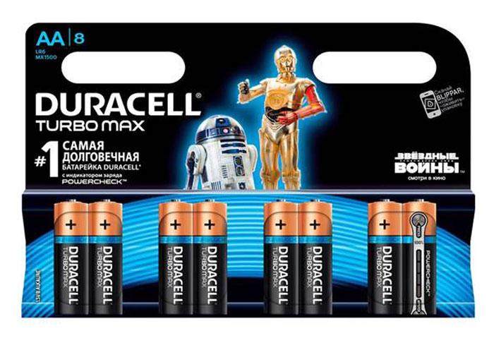 Набор алкалиновых батареек Duracell Turbo Max, тип AA, 8 шт638749/637085/620466Набор батареек Duracell Turbo Max предназначен для использования в различных электронных устройствах небольшого размера, например в пультах дистанционного управления, портативных MP3-плеерах, фотоаппаратах, различных беспроводных устройствах. Батарейки оснащены индикатором заряда. Характеристики:Тип элемента питания: AA (LR6). Тип электролита: щелочной. Выходное напряжение: 1,5 В. Комплектация: 8 шт. Артикул:DRC-81255919..