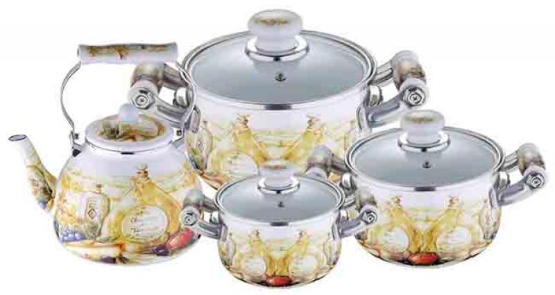 Набор посуды Wellberg, 7 предметов. 3097 WB115510Набор Wellberg состоит из трех кастрюль разного объема с крышками и чайника. Кастрюли и чайник выполнены из высококачественной эмалированной стали.Кастрюли оснащены эргономичными ручками, что сделает приготовление пищи более безопасным. Крышки, выполненные из термостойкого стекла, имеют пароотводы и удобные ручки. Крышки плотно прилегают к краям кастрюль, предотвращая проливание жидкости и сохраняя аромат блюд. Набор посуды Wellberg подходит для использования на всех типах плит, включая индукционные.Объем кастрюль: 2,1 л, 3,6 л, 6,4 л. Объем чайника: 4 л. Внутренний диаметр кастрюль: 16 см, 20 см, 24 см.