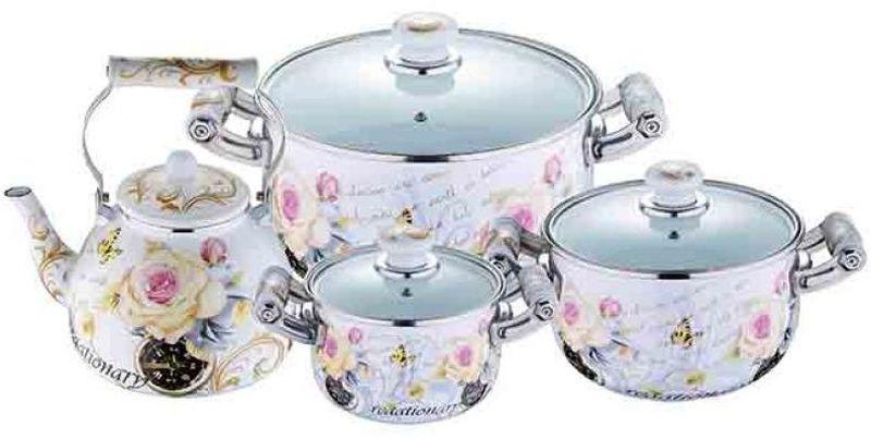 Набор посуды Wellberg, 7 предметов. 3096 WBAL-4952.6Набор Wellberg состоит из трех кастрюль разного объема с крышками и чайника. Кастрюли и чайник выполнены из высококачественной эмалированной стали.Кастрюли оснащены эргономичными ручками, что сделает приготовление пищи более безопасным. Крышки, выполненные из термостойкого стекла, имеют пароотводы и удобные ручки. Крышки плотно прилегают к краям кастрюль, предотвращая проливание жидкости и сохраняя аромат блюд. Набор посуды Wellberg подходит для использования на всех типах плит, включая индукционные.Объем кастрюль: 2,1 л, 3,6 л, 6,4 л. Объем чайника: 4 л. Внутренний диаметр кастрюль: 16 см, 20 см, 24 см.