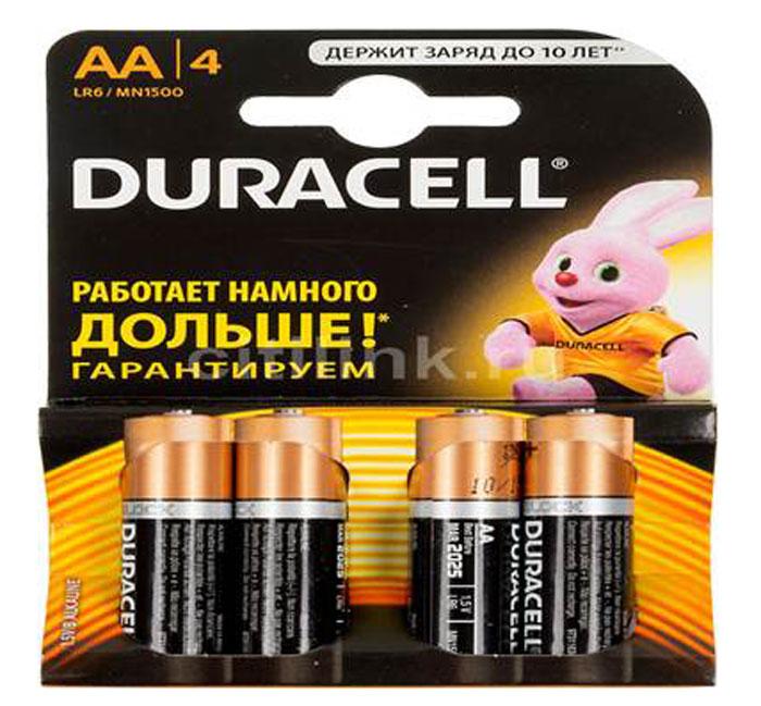 Набор алкалиновых батареек Duracell, тип AA, 4 шт набор батареек duracell тип aaa 2 шт