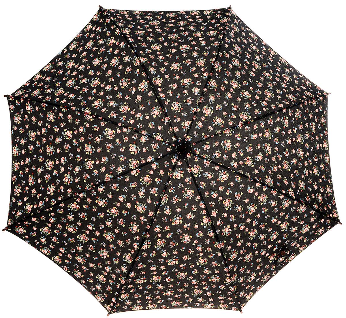 Зонт-трость женский Cath Kidston Kensington, механический, цвет: черный. L541-2652CX1516-50-10Яркий механический зонт-трость Cath Kidston Kensington даже в ненастную погоду позволит вам оставаться стильной и элегантной. Каркас зонта включает 8 спиц из фибергласса с деревянным наконечниками. Стержень изготовлен из дерева. Купол зонта выполнен из износостойкого полиэстера и оформлен мелким цветочным принтом. Изделие дополнено удобной рукояткой из гладкого дерева.Зонт механического сложения: купол открывается и закрывается вручную до характерного щелчка. Модель дополнительно застегивается с помощью двух хлястиков: на кнопку и липучку с декоративной пуговицей.Такой зонт не только надежно защитит вас от дождя, но и станет стильным аксессуаром, который идеально подчеркнет ваш неповторимый образ.