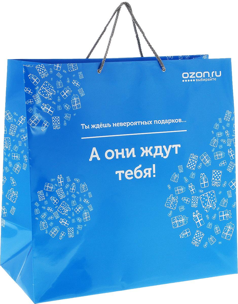 Пакет подарочный OZON.ru Ты ждешь невероятных подарков... А они ждут тебя!, 45 х 45 х 22 смNLED-454-9W-BKПакет подарочный OZON.ru Ты ждешь невероятных подарков... А они ждут тебя!, изготовленный из ламинированной бумаги, станет незаменимым дополнением к выбранному подарку. Дно изделия укреплено плотным картоном, который позволяет сохранить форму пакета и исключает возможность деформации дна под тяжестью подарка. Для удобной переноски предусмотрены два шнурка. Подарок, преподнесенный в оригинальной упаковке, всегда будет самым эффектным и запоминающимся. Окружите близких людей вниманием и заботой, вручив презент в нарядном, праздничном оформлении.