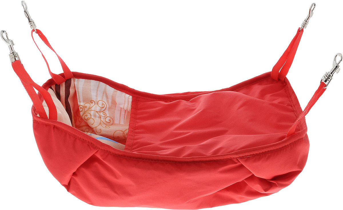 Гамак-кроватка для шиншилл и хорьков ЗооМарк, подвесной, цвет: красный. Д-12К0120710Гамак-кроватка ЗооМарк станет лучшим подарком для вашего любимца. Гамак выполнен из водоотталкивающего текстиля с мягким наполнителем и оснащен 4 специальными креплениями на карабинах. Мягкий и теплый гамак-кроватка ЗооМарк надолго привлечет внимание животного, обеспечит интересным времяпровождением, а также даст возможность прятаться внутри от холода и посторонних взглядов. Длина крепления: 13 см.