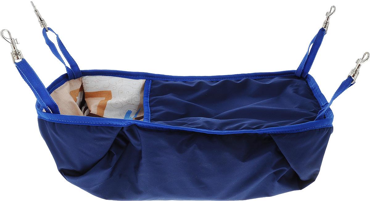 Гамак-кроватка для шиншилл и хорьков ЗооМарк, подвесной, цвет: синий. Д-12С0120710Гамак-кроватка ЗооМарк станет лучшим подарком для вашего любимца. Гамак выполнен из водоотталкивающего текстиля с мягким наполнителем и оснащен 4 специальными креплениями на карабинах. Мягкий и теплый гамак-кроватка ЗооМарк надолго привлечет внимание животного, обеспечит интересным времяпровождением, а также даст возможность прятаться внутри от холода и посторонних взглядов. Длина крепления: 13 см.