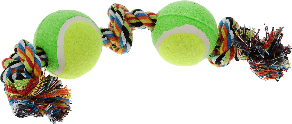Игрушка для собак Каскад Канат. 3 узла + 2 мяча, цвет: салатовый, зеленый, длина 35 см419Игрушка для собак Каскад Канат. 3 узла + 2 мяча станет любимым предметом для вашего питомца. Игрушка прочная и может выдержать огромное количество часов игры. Это идеальная замена косточке. Также изделие подойдет для бросков и игры в перетягивание. Игрушка представляет собой канат с двумя мячами.Длина игрушки: 35 см.Диаметр мяча: 6 см.