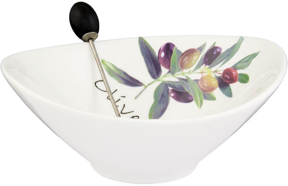 Тарелочка под оливки Elan Gallery Ветка оливы, с вилкой, 200 мл115510Тарелочка подходит для сервировки оливок или снеков. Оригинальная вилочка очень удобна в использовании. Изделие имеет подарочную упаковку, поэтому станет желанным подарком для Ваших близких! Объем тарелочки: 200 мл.Размер тарелки: 13 х11,5 х 4,5 см.