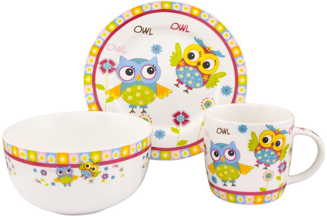 Набор посуды Elan Gallery Забавные красочные совята, 3 предмета54 009312Детский набор посуды включает в себя кружку, миску и десертную тарелку. Понравится маленьким принцам и принцессам! Изделие имеет подарочную упаковку, поэтому станет желанным подарком для детей и их родителей!Объем кружки: 250 мл.Объем миски: 570 мл.