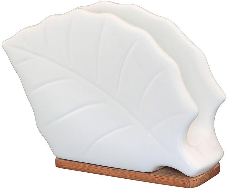 Салфетница Elan Gallery Листок, на подставке, 13 х 5 х 10 смVT-1520(SR)Белоснежная салфетница на подставке из бамбука оригинальной формы, удобна в использовании и уходе. Изделие в подарочной коробке.