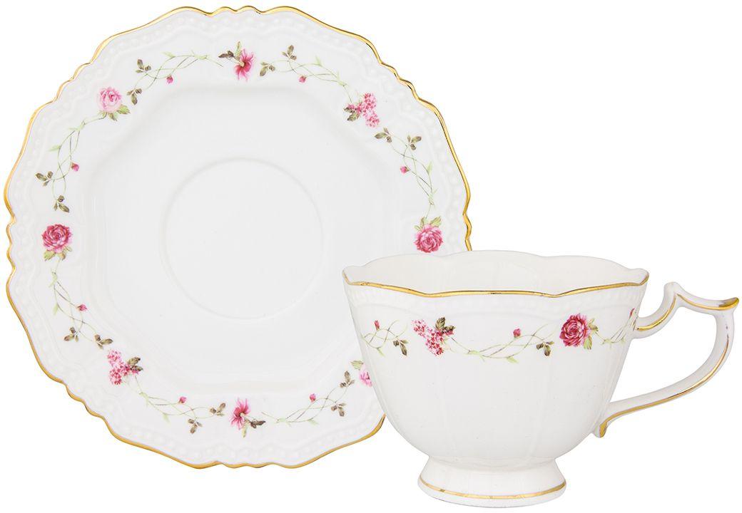 Чайная пара Elan Gallery Нежные розы, 275 мл115510Чайный набор на 1 персону украсит Ваше чаепитие. В комплекте чашка - 275 мл 12,5х9,5х7,5 см, блюдце - 15,2х15,2х1,5 см Изделие имеет подарочную упаковку, поэтому станет желанным подарком для Ваших близких!
