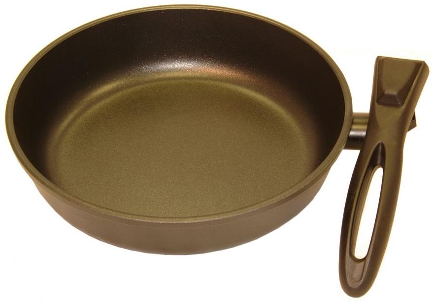 Сковорода Helper Gurman со съемной ручкой, с антипригарным покрытием, цвет: черный. Диаметр 26 см68/5/3СковородаHelper Gurman выполнена из литого толстостенного алюминия , что позволяет равномерно распределять и прекрасно удерживать тепло, экономить электроэнергию и готовить пищу быстрее. Значительная толщина стенок и дна исключает деформацию корпуса изделий, гарантирует долговечность посуды. Снабжена антипригарным покрытием Greblon C2+ с усиленным грунтовым слоем, дополнительно усиленное гранитной крошкой . Изделие не содержит кадмия и свинца, а также вредной примеси PFOA, оно абсолютно экологично и безопасно для здоровья. Антипригарное покрытие обладает высокой прочностью, пища не пригорает и сохраняет полезные свойства. Подходит для газовых, электрических и стеклокерамических плит. Можно мыть в посудомоечной машине.