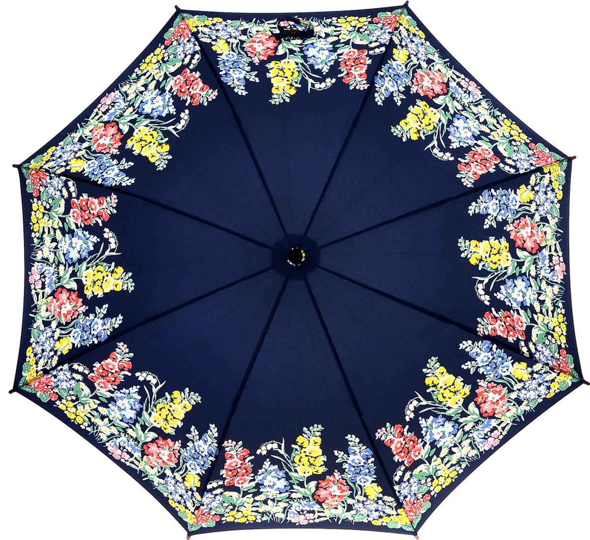 Зонт-трость женский Cath Kidston Kensington, механический, цвет: темно-синий, желтый, зеленый, розовый. L541-3142CX1516-50-10Яркий механический зонт-трость Cath Kidston Kensington даже в ненастную погоду позволит вам оставаться стильной и элегантной. Каркас зонта включает 8 спиц из фибергласса с деревянным наконечниками. Стержень изготовлен из дерева. Купол зонта выполнен из износостойкого полиэстера и оформлен цветочным принтом. Изделие дополнено удобной рукояткой из гладкого дерева.Зонт механического сложения: купол открывается и закрывается вручную до характерного щелчка. Модель дополнительно застегивается с помощью двух хлястиков: на кнопку и липучку с декоративной пуговицей.Такой зонт не только надежно защитит вас от дождя, но и станет стильным аксессуаром, который идеально подчеркнет ваш неповторимый образ.