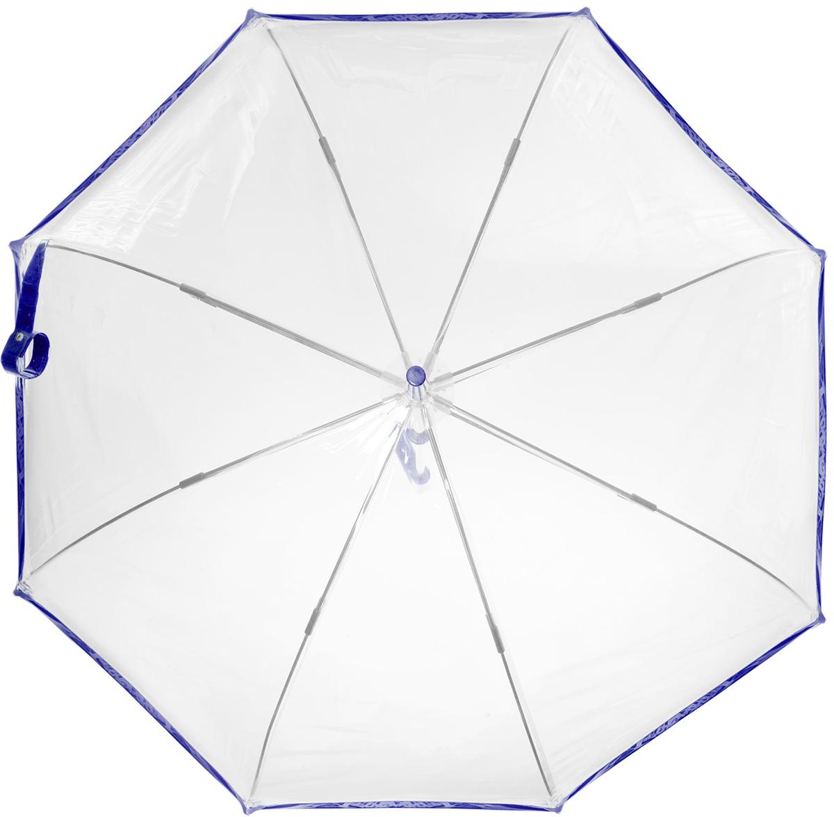 Зонт-трость женский Fulton BIRDCAGE, механический, цвет: синий. L041-0338B035000M/18075/3900NСтильный куполообразный зонт-трость Fulton BIRDCAGE выполнен из стали, прозрачного ПВХ и оформлен контрастным кантом.Каркас зонта выполнен из восьми стальных спиц с добавлением фибергласса. Зонт оснащен полуавтоматическим механизмом. Рукоятка закругленной формы разработана с учетом требований эргономики и изготовлена из металла.Зонт Eleganzza защитит от дождя и поднимет настроение в ненастную погоду.