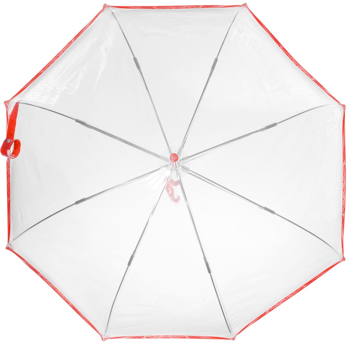 Зонт-трость женский Bird cage, механический, цвет: прозрачный, красныйREM12-GREYСтильный куполообразный зонт-трость Bird cage, закрывающий голову и плечи, даже в ненастную погоду позволит вам оставаться элегантной. Каркас зонта выполнен из 8 спиц из фибергласса, стержень изготовлен из стали. Купол зонта выполнен из прозрачного ПВХ. Рукоятка закругленной формы разработана с учетом требований эргономики и изготовлена из пластика. Зонт имеет механический тип сложения: купол открывается и закрывается вручную до характерного щелчка.Такой зонт не только надежно защитит вас от дождя, но и станет стильным аксессуаром. Характеристики:Материал: ПВХ, сталь, фибергласс, пластик. Диаметр купола: 89 см.Цвет: прозрачный, красный. Длина стержня зонта: 84 см. Длина зонта (в сложенном виде): 94 см.Вес: 540 г.Артикул:L041 1F025.