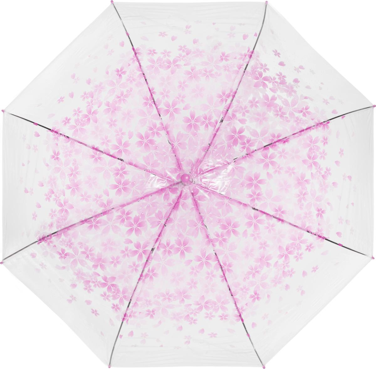 Зонт женский Эврика, цвет: прозрачный, розовый. 97506CX1516-50-10Зонт-трость Эврика выполнен из прозрачного полиэтилена и оформлен цветочным принтом.Благодаря своему изяществу и утонченности орнамента он способен украсить даже самый пасмурный день. Лёгкий, практичный зонт-полуавтомат послужит верным спутником дамы, желающей выглядеть стильно в любую погоду.