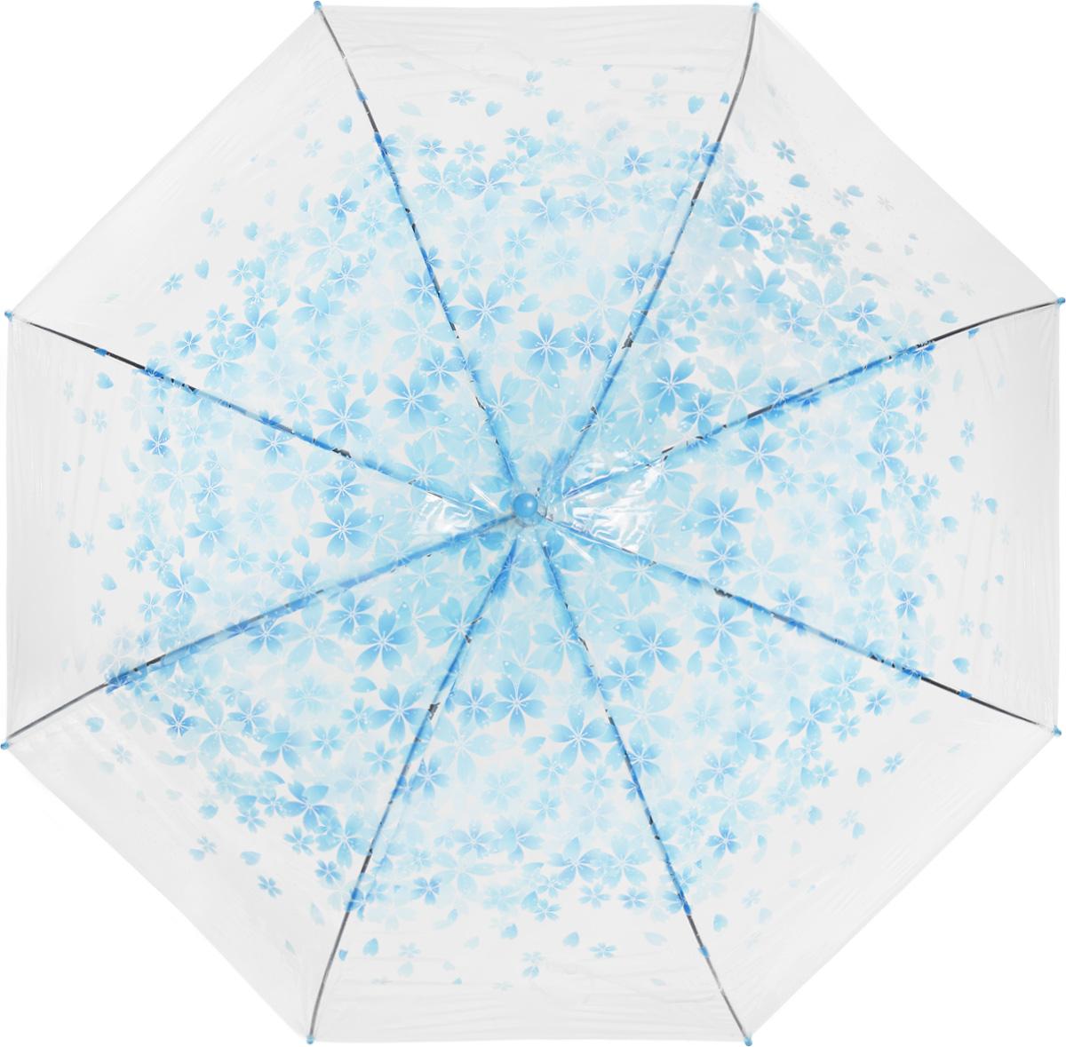 Зонт женский Эврика, цвет: голубой, прозрачный. 97504Бусы-ниткаЗонт-трость Эврика выполнен из прозрачного полиэтилена и оформлен цветочным принтом.Благодаря своему изяществу и утонченности орнамента он способен украсить даже самый пасмурный день. Лёгкий, практичный зонт-полуавтомат послужит верным спутником дамы, желающей выглядеть стильно в любую погоду.