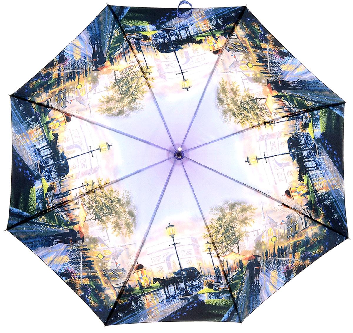 Зонт женский Эврика Париж, цвет: синий, сиреневый. 97502CX1516-50-10Большой полуавтоматический зонт-трость с изображением городского пейзажа – это стильный аксессуар, подходящий как дамам, так и джентльменам. Знаменитые виды Парижа, запечатленные талантливой рукой художника-декоратора, принесут толику романтики и хорошего настроения даже в ненастную погоду. Качественный материал купола с влагоотталкивающей пропиткой спасёт от ливня, а крепкие спицы не поддадутся упрямому ветру.