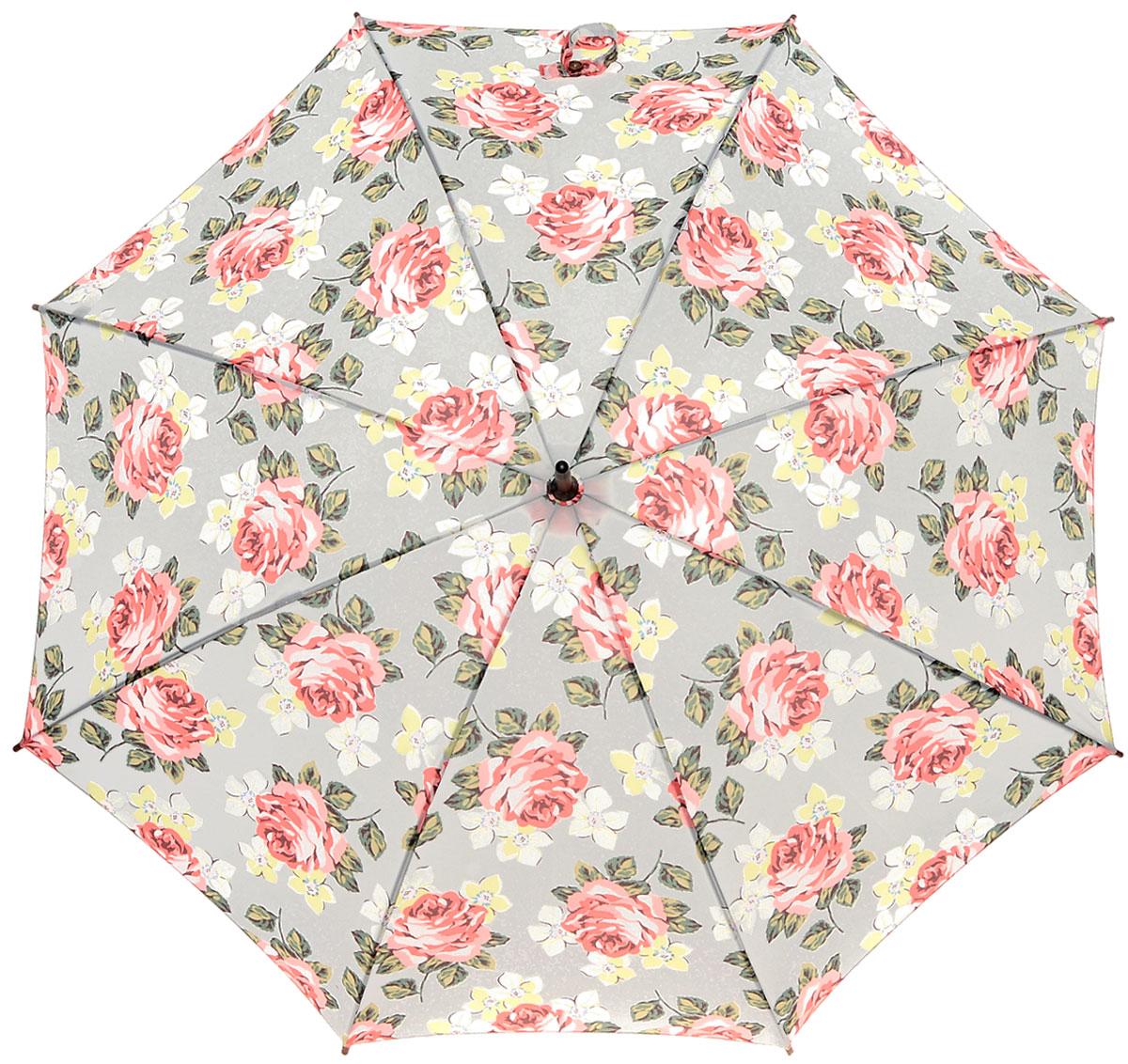 Зонт-трость женский Cath Kidston Kensington, механический, цвет: светло-серый, розовый, зеленый. L541-3143П300020005-20Яркий механический зонт-трость Cath Kidston Kensington даже в ненастную погоду позволит вам оставаться стильной и элегантной. Каркас зонта включает 8 спиц из фибергласса с деревянным наконечниками. Стержень изготовлен из дерева. Купол зонта выполнен из износостойкого полиэстера и оформлен цветочным принтом. Изделие дополнено удобной рукояткой из гладкого дерева.Зонт механического сложения: купол открывается и закрывается вручную до характерного щелчка. Модель дополнительно застегивается с помощью двух хлястиков: на кнопку и липучку с декоративной пуговицей.Такой зонт не только надежно защитит вас от дождя, но и станет стильным аксессуаром, который идеально подчеркнет ваш неповторимый образ.