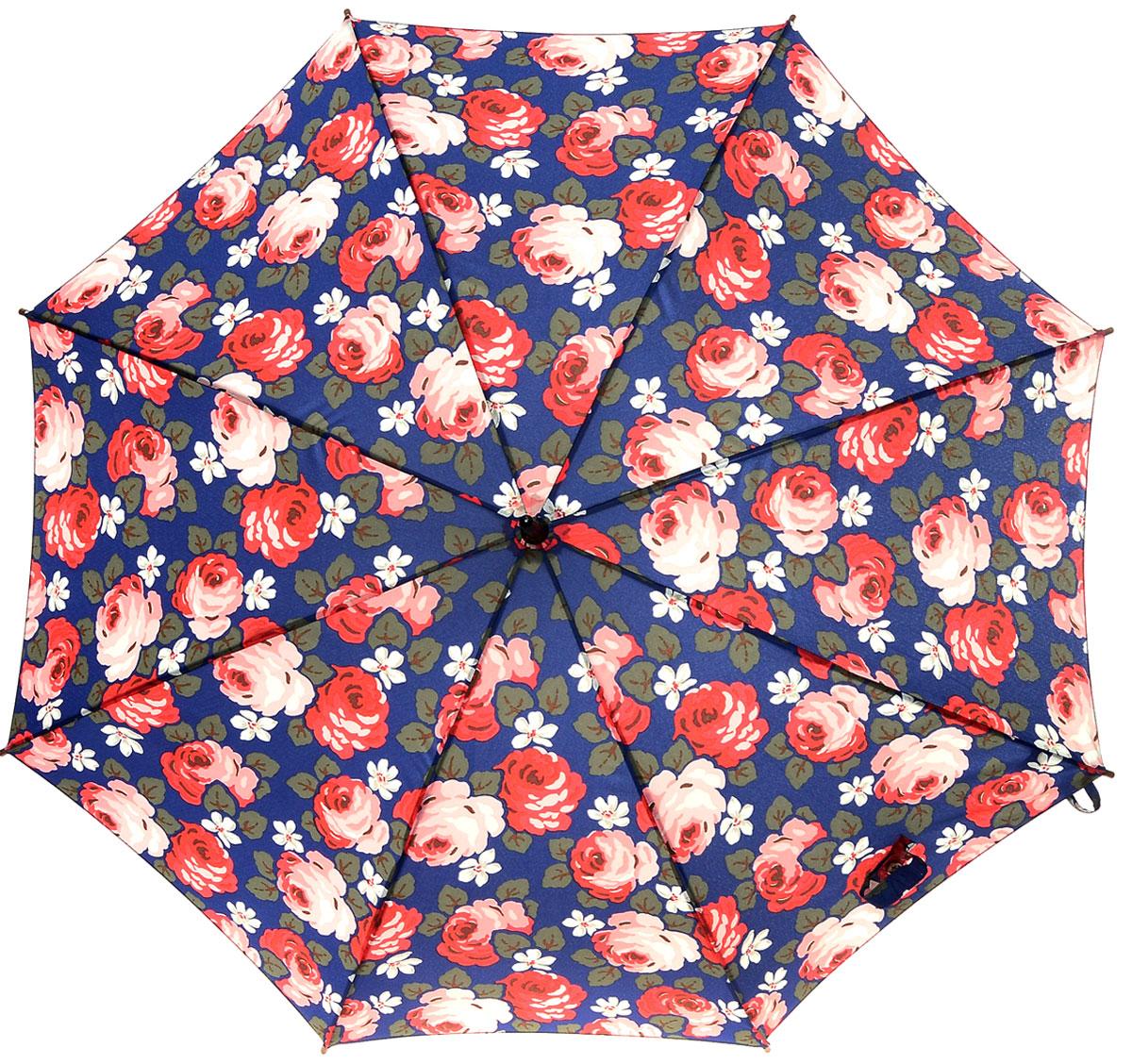 Зонт-трость женский Cath Kidston Kensington, механический, цвет: темно-синий, красный, розовый, темно-зеленый. L541-2741CX1516-50-10Яркий механический зонт-трость Cath Kidston Kensington даже в ненастную погоду позволит вам оставаться стильной и элегантной. Каркас зонта включает 8 спиц из фибергласса с деревянным наконечниками. Стержень изготовлен из дерева. Купол зонта выполнен из износостойкого полиэстера и оформлен цветочным принтом. Изделие дополнено удобной рукояткой из гладкого дерева.Зонт механического сложения: купол открывается и закрывается вручную до характерного щелчка. Модель дополнительно застегивается с помощью двух хлястиков: на кнопку и липучку с декоративной пуговицей.Такой зонт не только надежно защитит вас от дождя, но и станет стильным аксессуаром, который идеально подчеркнет ваш неповторимый образ.