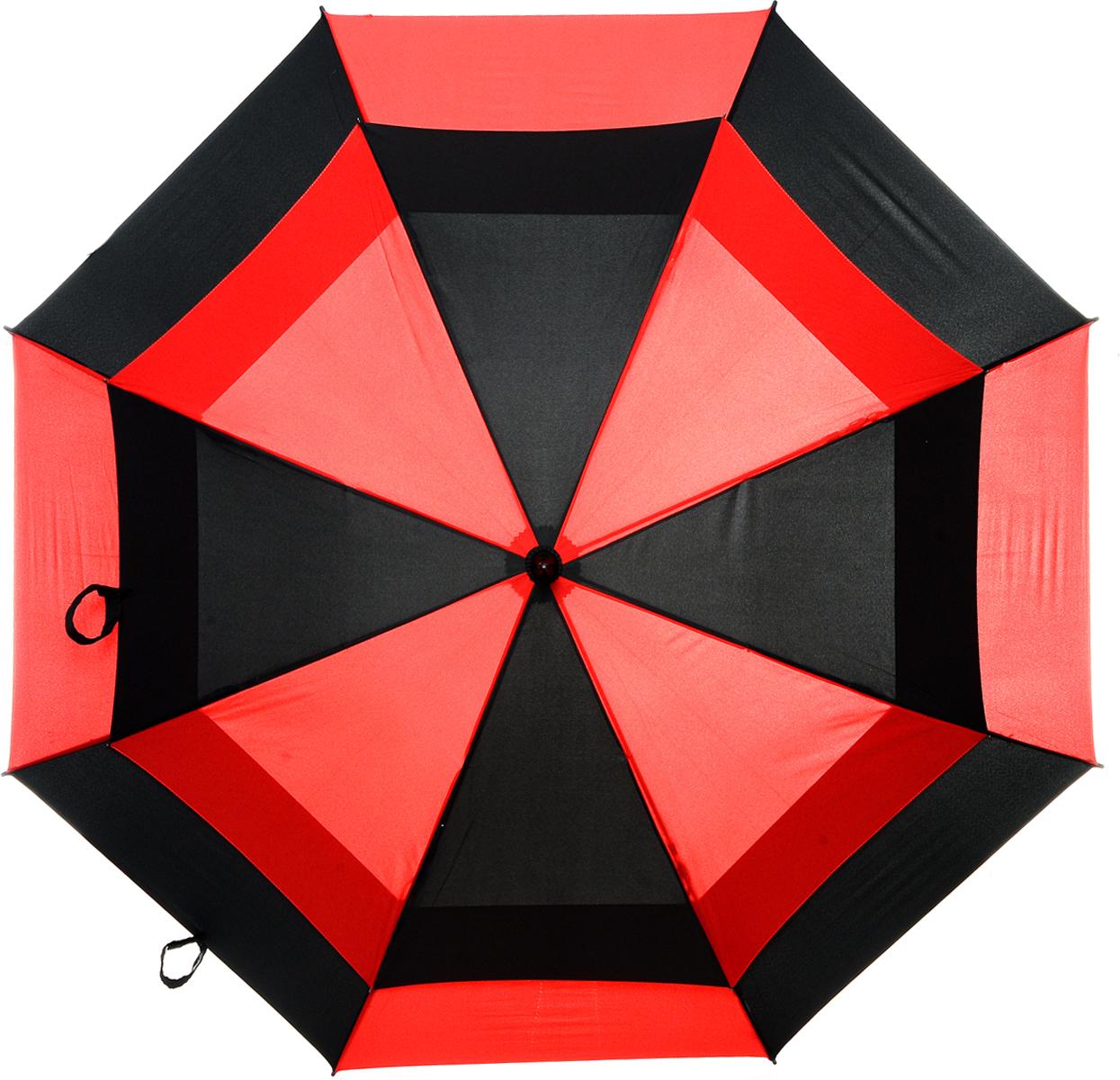 Зонт-гольфер мужской Fulton Stormshield, механический, цвет: черный, красный. S669-216845100032/35449/3537AМеханический мужской зонт-гольфер Fulton Clearview надежно защитит вас от дождя. Каркас зонта включает 8 спиц из фибергласса с пластиковыми наконечниками. Стержень также изготовлен из фибергласса. Купол зонта выполнен из высококачественного полиэстера и оформлен оригинальным принтом. Изделие дополнено удобной пластиковой рукояткой с каучуковым покрытием.Зонт механического сложения: купол открывается и закрывается вручную до характерного щелчка. Модель дополнительно застегивается с помощью хлястика на липучку. В комплект также входит чехол на липучке.Такой зонт станет стильным аксессуаром, который подчеркнет ваш образ.