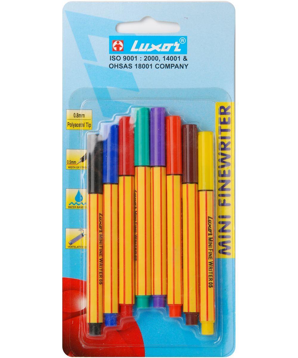 Luxor Набор ручек Finliner Mini 8 штPP-304Ручки Finliner mini, 0.5мм, 8шт, 8цветов, блистер