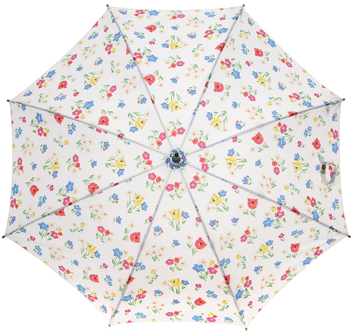 Зонт-трость женский Cath Kidston Kensington, механический, цвет: дымчатый белый. L541-2953REM12-GREYЯркий механический зонт-трость Cath Kidston Kensington даже в ненастную погоду позволит вам оставаться стильной и элегантной. Каркас зонта включает 8 спиц из фибергласса с деревянным наконечниками. Стержень изготовлен из дерева. Купол зонта выполнен из износостойкого полиэстера и оформлен цветочным принтом. Изделие дополнено удобной рукояткой из гладкого дерева.Зонт механического сложения: купол открывается и закрывается вручную до характерного щелчка. Модель дополнительно застегивается с помощью двух хлястиков: на кнопку и липучку с декоративной пуговицей.Такой зонт не только надежно защитит вас от дождя, но и станет стильным аксессуаром, который идеально подчеркнет ваш неповторимый образ.