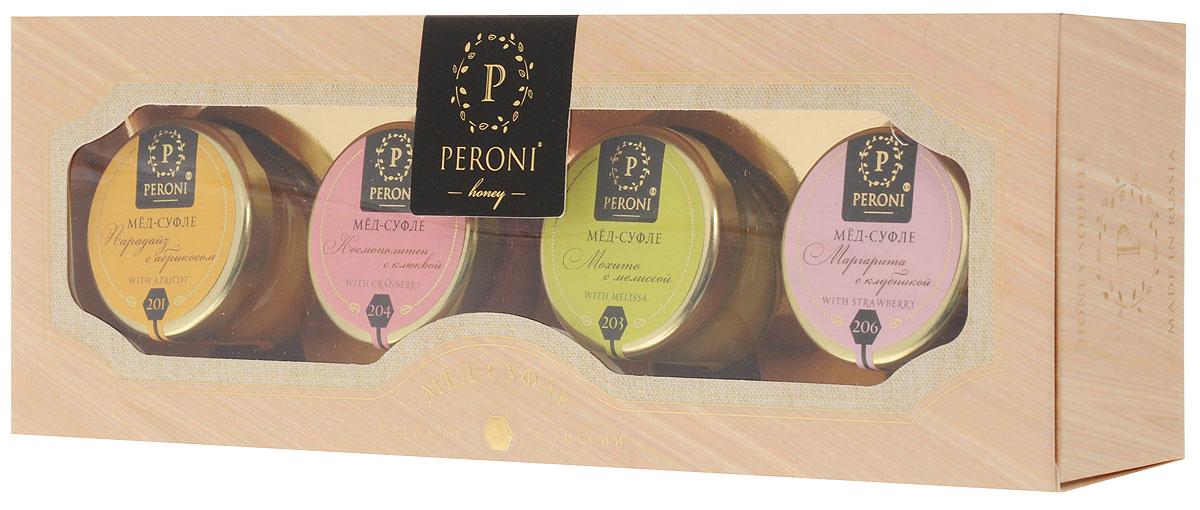 Peroni Коктейли мед-суфле подарочный набор, 4 шт по 30 г0120710Медовые коктейли - это новинка в мире меда. Взрывная клюква, солнечный абрикос, ароматная клубника и освежающая мелисса поражают своими вкусами. В их составе только натуральные и полезные ингредиенты, которые превращают мед в изысканное лакомство.Для получения меда-суфле используются специальные технологии. Мед долго вымешивается при определенной скорости, после чего его выдерживают при температуре 12-14°C, тем самым закрепляя его нужную консистенцию. Все полезные свойства меда при этом сохраняются.Уважаемые клиенты! Обращаем ваше внимание, что полный перечень состава продукта представлен на дополнительном изображении.