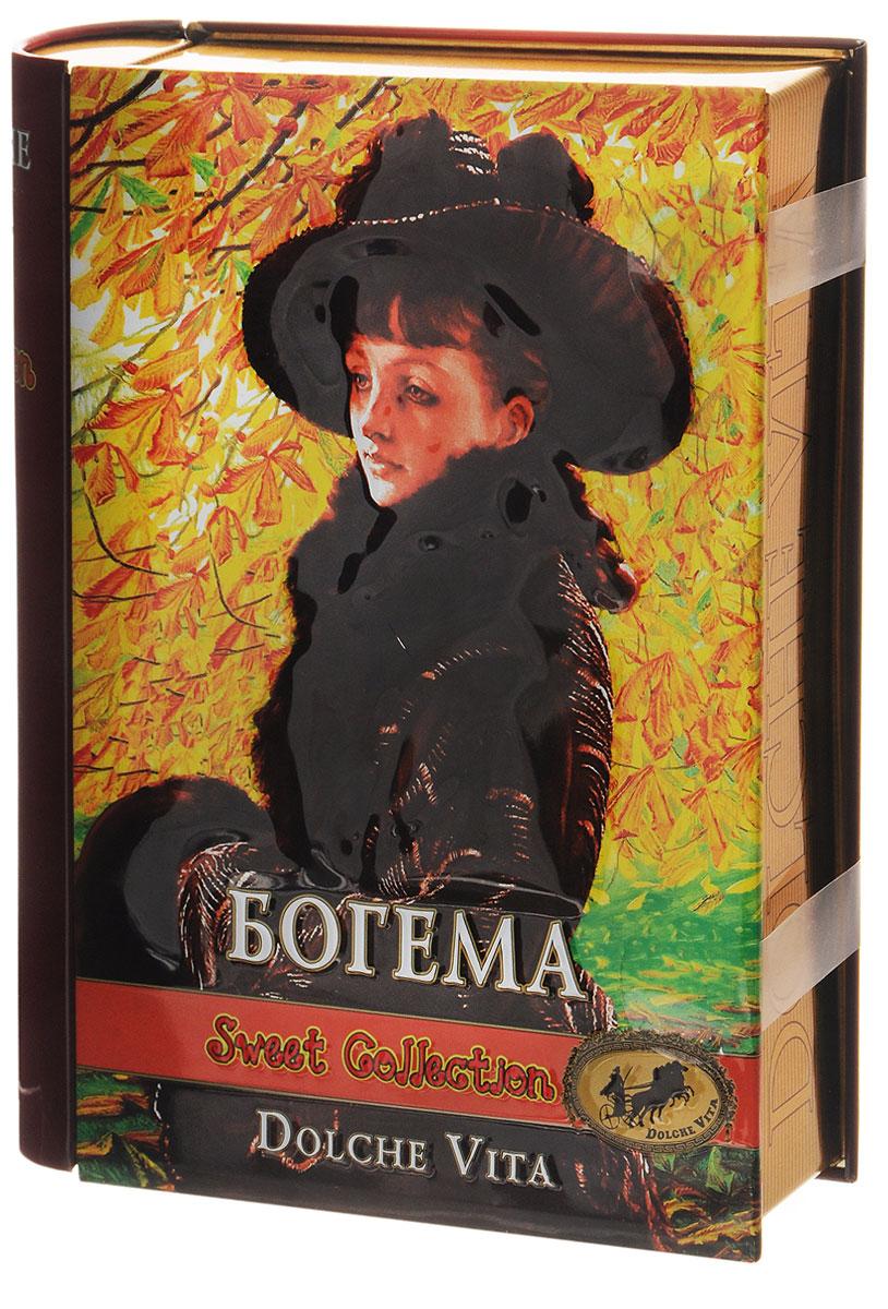 Dolche Vita Богема элитный ароматизированный черный листовой чай, 100 г (подарочная шкатулка)21601Элитный черный листовой чай Dolche Vita Богема - цейлонский крупнолистовой чай с ягодами красной смородины и малины, цветками василька, лепестками сафлора, с ароматом клубники, малины и чёрной смородиныв жестяной банке.Уважаемые клиенты! Обращаем ваше внимание, что полный перечень состава продукта представлен на дополнительном изображении.