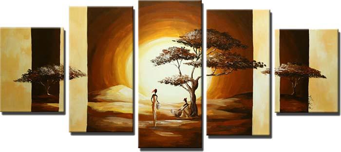 Картина Арт78 Дерево на закате, модульная, 200 х 120 см. арт780053С_054Ничто так не облагораживает интерьер, как хорошая картина. Особенную атмосферу создаст крупное художественное полотно, размеры которого более метра. Подобные произведения искусства, выполненные в традиционной технике (холст, масляные краски), чрезвычайно капризны: требуют сложного ухода, регулярной реставрации, особого микроклимата – поэтому они просто не могут существовать в условиях обычной городской квартиры или загородного коттеджа, и требуют больших затрат. Данное полотно идеально приспособлено для создания изысканной обстановки именно у Вас. Это полотно создано с использованием как традиционных натуральных материалов (холст, подрамник - сосна), так и материалов нового поколения – краски, фактурный гель (придающий картине внешний вид масляной живописи, и защищающий ее от внешнего воздействия). Благодаря такой композиции, картина выглядит абсолютно естественно, и отличить ее от традиционной техники может только специалист. Но при этом изображение отлично смотрится с любого расстояния, под любым углом и при любом освещении. Картина не выцветает, хорошо переносит даже повышенный уровень влажности. При необходимости ее можно протереть сухой салфеткой из мягкой ткани.