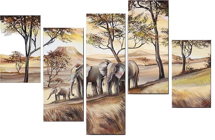 Картина Арт78 Слоны, модульная, 200 х 120 см. арт780061D_051Ничто так не облагораживает интерьер, как хорошая картина. Особенную атмосферу создаст крупное художественное полотно, размеры которого более метра. Подобные произведения искусства, выполненные в традиционной технике (холст, масляные краски), чрезвычайно капризны: требуют сложного ухода, регулярной реставрации, особого микроклимата – поэтому они просто не могут существовать в условиях обычной городской квартиры или загородного коттеджа, и требуют больших затрат. Данное полотно идеально приспособлено для создания изысканной обстановки именно у Вас. Это полотно создано с использованием как традиционных натуральных материалов (холст, подрамник - сосна), так и материалов нового поколения – краски, фактурный гель (придающий картине внешний вид масляной живописи, и защищающий ее от внешнего воздействия). Благодаря такой композиции, картина выглядит абсолютно естественно, и отличить ее от традиционной техники может только специалист. Но при этом изображение отлично смотрится с любого расстояния, под любым углом и при любом освещении. Картина не выцветает, хорошо переносит даже повышенный уровень влажности. При необходимости ее можно протереть сухой салфеткой из мягкой ткани.