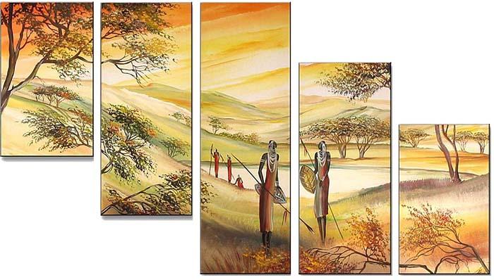 Картина Арт78 Воины, модульная, 200 х 120 см. арт78006244454Ничто так не облагораживает интерьер, как хорошая картина. Особенную атмосферу создаст крупное художественное полотно, размеры которого более метра. Подобные произведения искусства, выполненные в традиционной технике (холст, масляные краски), чрезвычайно капризны: требуют сложного ухода, регулярной реставрации, особого микроклимата – поэтому они просто не могут существовать в условиях обычной городской квартиры или загородного коттеджа, и требуют больших затрат. Данное полотно идеально приспособлено для создания изысканной обстановки именно у Вас. Это полотно создано с использованием как традиционных натуральных материалов (холст, подрамник - сосна), так и материалов нового поколения – краски, фактурный гель (придающий картине внешний вид масляной живописи, и защищающий ее от внешнего воздействия). Благодаря такой композиции, картина выглядит абсолютно естественно, и отличить ее от традиционной техники может только специалист. Но при этом изображение отлично смотрится с любого расстояния, под любым углом и при любом освещении. Картина не выцветает, хорошо переносит даже повышенный уровень влажности. При необходимости ее можно протереть сухой салфеткой из мягкой ткани.