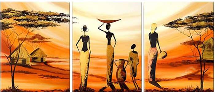 Картина Арт78 Африканские девушки, модульная, 160 х 80 см. арт780067D_027Ничто так не облагораживает интерьер, как хорошая картина. Особенную атмосферу создаст крупное художественное полотно, размеры которого более метра. Подобные произведения искусства, выполненные в традиционной технике (холст, масляные краски), чрезвычайно капризны: требуют сложного ухода, регулярной реставрации, особого микроклимата – поэтому они просто не могут существовать в условиях обычной городской квартиры или загородного коттеджа, и требуют больших затрат. Данное полотно идеально приспособлено для создания изысканной обстановки именно у Вас. Это полотно создано с использованием как традиционных натуральных материалов (холст, подрамник - сосна), так и материалов нового поколения – краски, фактурный гель (придающий картине внешний вид масляной живописи, и защищающий ее от внешнего воздействия). Благодаря такой композиции, картина выглядит абсолютно естественно, и отличить ее от традиционной техники может только специалист. Но при этом изображение отлично смотрится с любого расстояния, под любым углом и при любом освещении. Картина не выцветает, хорошо переносит даже повышенный уровень влажности. При необходимости ее можно протереть сухой салфеткой из мягкой ткани.