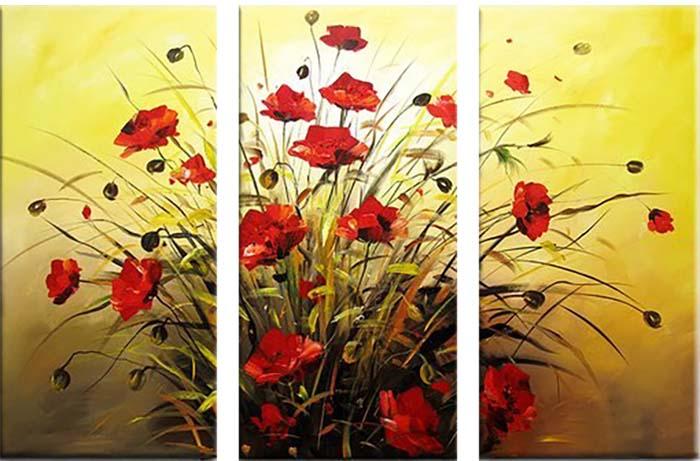 Картина Арт78 Маки, модульная, 160 х 120 см. арт780068D_030Ничто так не облагораживает интерьер, как хорошая картина. Особенную атмосферу создаст крупное художественное полотно, размеры которого более метра. Подобные произведения искусства, выполненные в традиционной технике (холст, масляные краски), чрезвычайно капризны: требуют сложного ухода, регулярной реставрации, особого микроклимата – поэтому они просто не могут существовать в условиях обычной городской квартиры или загородного коттеджа, и требуют больших затрат. Данное полотно идеально приспособлено для создания изысканной обстановки именно у Вас. Это полотно создано с использованием как традиционных натуральных материалов (холст, подрамник - сосна), так и материалов нового поколения – краски, фактурный гель (придающий картине внешний вид масляной живописи, и защищающий ее от внешнего воздействия). Благодаря такой композиции, картина выглядит абсолютно естественно, и отличить ее от традиционной техники может только специалист. Но при этом изображение отлично смотрится с любого расстояния, под любым углом и при любом освещении. Картина не выцветает, хорошо переносит даже повышенный уровень влажности. При необходимости ее можно протереть сухой салфеткой из мягкой ткани.