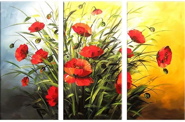 Картина Арт78 Маки, модульная, 160 х 120 см. арт78006944437Ничто так не облагораживает интерьер, как хорошая картина. Особенную атмосферу создаст крупное художественное полотно, размеры которого более метра. Подобные произведения искусства, выполненные в традиционной технике (холст, масляные краски), чрезвычайно капризны: требуют сложного ухода, регулярной реставрации, особого микроклимата – поэтому они просто не могут существовать в условиях обычной городской квартиры или загородного коттеджа, и требуют больших затрат. Данное полотно идеально приспособлено для создания изысканной обстановки именно у Вас. Это полотно создано с использованием как традиционных натуральных материалов (холст, подрамник - сосна), так и материалов нового поколения – краски, фактурный гель (придающий картине внешний вид масляной живописи, и защищающий ее от внешнего воздействия). Благодаря такой композиции, картина выглядит абсолютно естественно, и отличить ее от традиционной техники может только специалист. Но при этом изображение отлично смотрится с любого расстояния, под любым углом и при любом освещении. Картина не выцветает, хорошо переносит даже повышенный уровень влажности. При необходимости ее можно протереть сухой салфеткой из мягкой ткани.