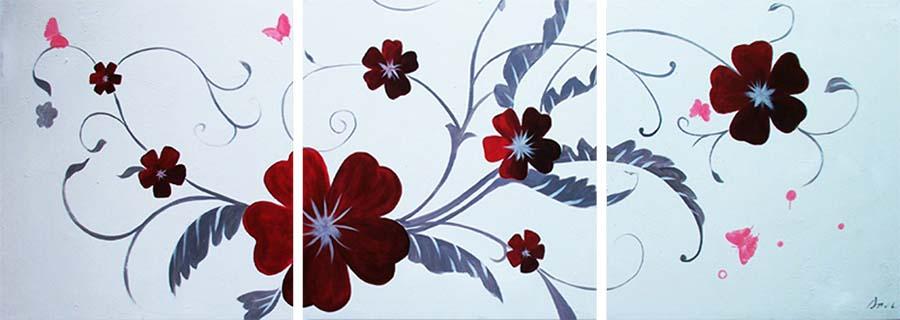 Картина Арт78 Красные цветы, модульная, 160 х 80 см. арт78010144449Ничто так не облагораживает интерьер, как хорошая картина. Особенную атмосферу создаст крупное художественное полотно, размеры которого более метра. Подобные произведения искусства, выполненные в традиционной технике (холст, масляные краски), чрезвычайно капризны: требуют сложного ухода, регулярной реставрации, особого микроклимата – поэтому они просто не могут существовать в условиях обычной городской квартиры или загородного коттеджа, и требуют больших затрат. Данное полотно идеально приспособлено для создания изысканной обстановки именно у Вас. Это полотно создано с использованием как традиционных натуральных материалов (холст, подрамник - сосна), так и материалов нового поколения – краски, фактурный гель (придающий картине внешний вид масляной живописи, и защищающий ее от внешнего воздействия). Благодаря такой композиции, картина выглядит абсолютно естественно, и отличить ее от традиционной техники может только специалист. Но при этом изображение отлично смотрится с любого расстояния, под любым углом и при любом освещении. Картина не выцветает, хорошо переносит даже повышенный уровень влажности. При необходимости ее можно протереть сухой салфеткой из мягкой ткани.