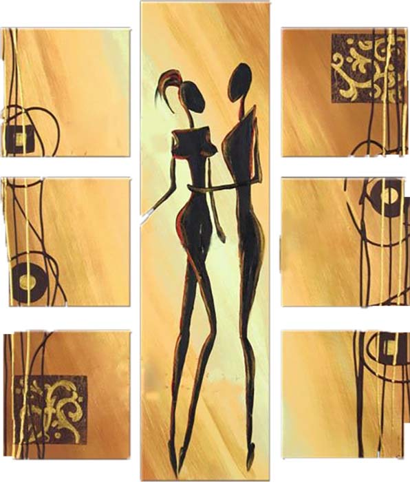 Картина Арт78 Два силуэта, модульная, 100 х 120 см. арт780106С_050Ничто так не облагораживает интерьер, как хорошая картина. Особенную атмосферу создаст крупное художественное полотно, размеры которого более метра. Подобные произведения искусства, выполненные в традиционной технике (холст, масляные краски), чрезвычайно капризны: требуют сложного ухода, регулярной реставрации, особого микроклимата – поэтому они просто не могут существовать в условиях обычной городской квартиры или загородного коттеджа, и требуют больших затрат. Данное полотно идеально приспособлено для создания изысканной обстановки именно у Вас. Это полотно создано с использованием как традиционных натуральных материалов (холст, подрамник - сосна), так и материалов нового поколения – краски, фактурный гель (придающий картине внешний вид масляной живописи, и защищающий ее от внешнего воздействия). Благодаря такой композиции, картина выглядит абсолютно естественно, и отличить ее от традиционной техники может только специалист. Но при этом изображение отлично смотрится с любого расстояния, под любым углом и при любом освещении. Картина не выцветает, хорошо переносит даже повышенный уровень влажности. При необходимости ее можно протереть сухой салфеткой из мягкой ткани.