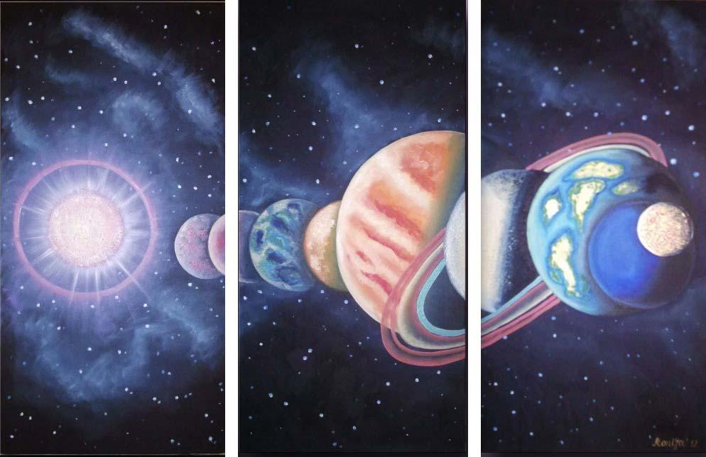 Картина Арт78 Парад планет, модульная, 180 х 120 см. арт780107D_022Ничто так не облагораживает интерьер, как хорошая картина. Особенную атмосферу создаст крупное художественное полотно, размеры которого более метра. Подобные произведения искусства, выполненные в традиционной технике (холст, масляные краски), чрезвычайно капризны: требуют сложного ухода, регулярной реставрации, особого микроклимата – поэтому они просто не могут существовать в условиях обычной городской квартиры или загородного коттеджа, и требуют больших затрат. Данное полотно идеально приспособлено для создания изысканной обстановки именно у Вас. Это полотно создано с использованием как традиционных натуральных материалов (холст, подрамник - сосна), так и материалов нового поколения – краски, фактурный гель (придающий картине внешний вид масляной живописи, и защищающий ее от внешнего воздействия). Благодаря такой композиции, картина выглядит абсолютно естественно, и отличить ее от традиционной техники может только специалист. Но при этом изображение отлично смотрится с любого расстояния, под любым углом и при любом освещении. Картина не выцветает, хорошо переносит даже повышенный уровень влажности. При необходимости ее можно протереть сухой салфеткой из мягкой ткани.