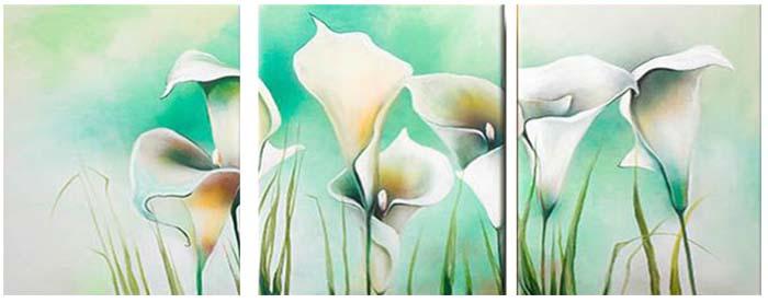 Картина Арт78 Белые каллы, модульная, 120 х 60 см. арт780051-2D_053Ничто так не облагораживает интерьер, как хорошая картина. Особенную атмосферу создаст крупное художественное полотно, размеры которого более метра. Подобные произведения искусства, выполненные в традиционной технике (холст, масляные краски), чрезвычайно капризны: требуют сложного ухода, регулярной реставрации, особого микроклимата – поэтому они просто не могут существовать в условиях обычной городской квартиры или загородного коттеджа, и требуют больших затрат. Данное полотно идеально приспособлено для создания изысканной обстановки именно у Вас. Это полотно создано с использованием как традиционных натуральных материалов (холст, подрамник - сосна), так и материалов нового поколения – краски, фактурный гель (придающий картине внешний вид масляной живописи, и защищающий ее от внешнего воздействия). Благодаря такой композиции, картина выглядит абсолютно естественно, и отличить ее от традиционной техники может только специалист. Но при этом изображение отлично смотрится с любого расстояния, под любым углом и при любом освещении. Картина не выцветает, хорошо переносит даже повышенный уровень влажности. При необходимости ее можно протереть сухой салфеткой из мягкой ткани.